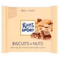 Ritter Sport Czekolada mleczna z orzechami laskowymi i kawałkami chrupiących ciasteczek 100 g