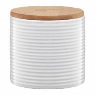 Ambition Pojemnik ceramiczny Tuvo w paski poziome z bambusową pokrywką 670 ml