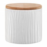 Ambition Pojemnik ceramiczny Tuvo w białe wytłoczenia z bambusową pokrywką 670 ml