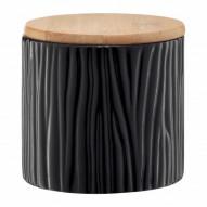 Ambition Pojemnik ceramiczny Tuvo w czarne wytłoczenia z bambusową pokrywką 670 ml