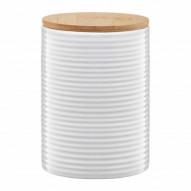 Ambition Pojemnik ceramiczny Tuvo w paski poziome z bambusową pokrywką 1110 ml