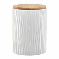 Ambition Pojemnik ceramiczny Tuvo w białe wytłoczenia z bambusową pokrywką 1110 ml