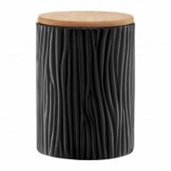 Ambition Pojemnik ceramiczny Tuvo w czarne wytłoczenia z bambusową pokrywką 1110 ml