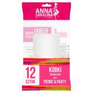 Anna Zaradna Picnic & Party Kubki do napojów białe 12 sztuk
