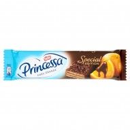Princessa Dark Orange Wafel przekładany kremem o smaku pomarańczowym oblany czekoladą deserową 33 g