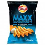Lay's Maxx Mocno Pogięte Ser & Zielona cebulka Chipsy ziemniaczane 140 g